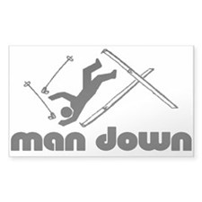 man down skier Rectangle Decal