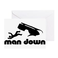 man down snowmobile Greeting Card