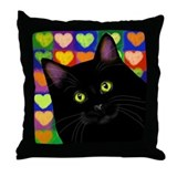 BLACK CAT HEARTS Throw Pillow