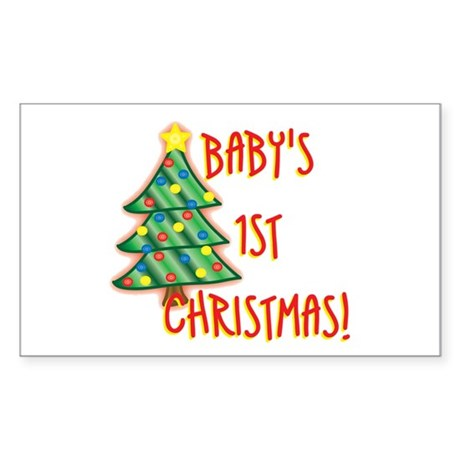 Baby's 1st Christmas Rectangle Sticker