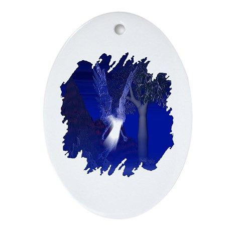 Iridescent Angel Oval Ornament