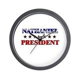 NATHANIEL for president Wall Clock
