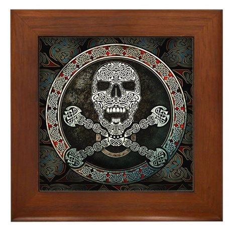 Skull & Crossbones Knotwork Framed Tile