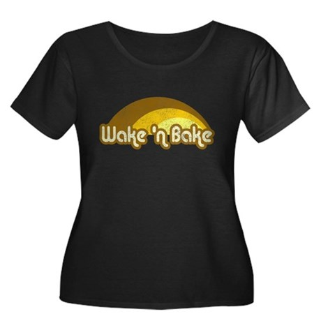 Wake 'n Bake Womens Plus Size Scoop Neck Dark T-S