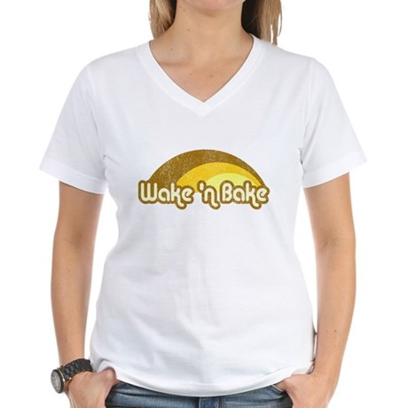 Wake 'n Bake Womens V-Neck T-Shirt