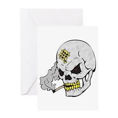 Celtic Cross Smoking Skull Greeting Card