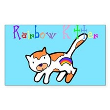 Rainbow Kitten Rectangle Decal