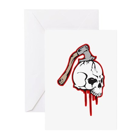 Bloody Axed Skull Greeting Cards (Pk of 20)