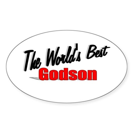 &quot;The World's Best Godson&quot; Oval Sticker
