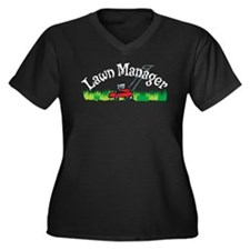 Lawn Manager Women's Plus Size V-Neck Dark T-Shirt