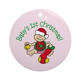 BABY'S 1ST CHRISTMAS! Girl Ornament (Round)