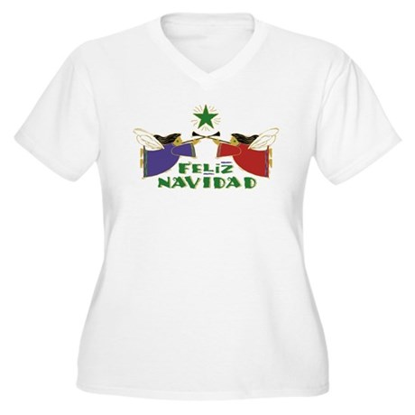 Feliz Navidad Women's Plus Size V-Neck T-Shirt