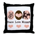 Peace Love Mozart Throw Pillow