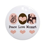 Peace Love Mozart Ornament (Round)