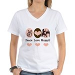 Peace Love Mozart Women's V-Neck T-Shirt