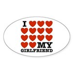I Love My Girlfriend Oval Sticker