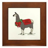 Holiday Llama Framed Tile