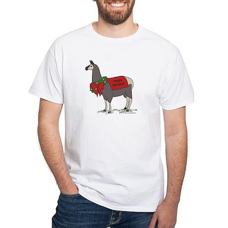 Holiday Llama White T-Shirt