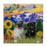 Mountain Country & Pug Pair Tile Coaster