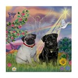 Cloud Angel & Pug Pair Tile Coaster