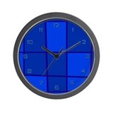 Blue Grid Wall Clock
