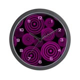 Fuchsia Circles Wall Clock