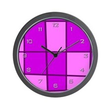 Fuchsia Grid Wall Clock