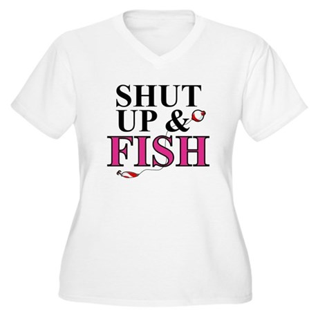 Shut Up & Fish Women's Plus Size V-Neck T-Shirt