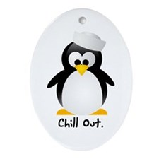 Chill Out Penguin Holiday Oval Ornament