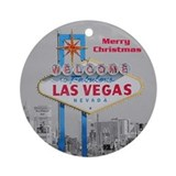 Las Vegas Retro Merry Christmas Ornament (Round)