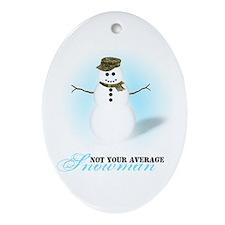 Camoflauge Snowman Oval Ornament