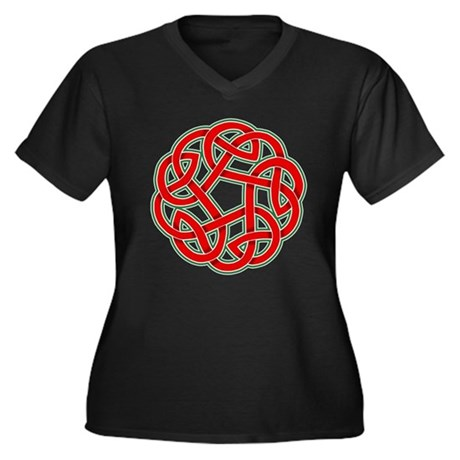 Celtic Christmas Knot Women's Plus Size V-Neck Dar