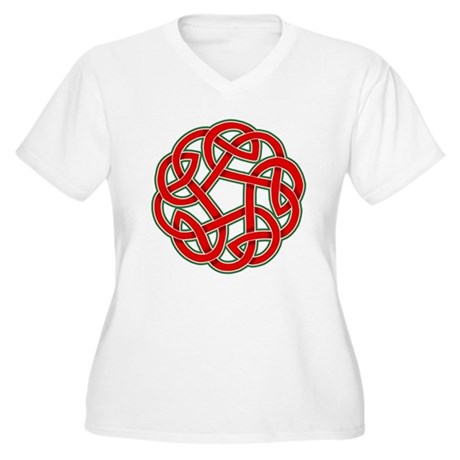 Celtic Christmas Knot Women's Plus Size V-Neck T-S