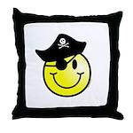 Smiley Pirate Throw Pillow