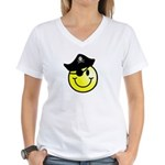 Smiley Pirate Women's V-Neck T-Shirt