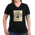 Doc Holliday Wanted Women's V-Neck Dark T-Shirt