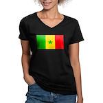 Senegal Blank Flag Women's V-Neck Dark T-Shirt