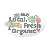 Buy Local Fresh & Organic Oval Decal