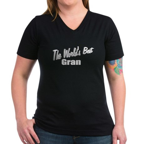 """The World's Best Gran"" Women's V-Neck Dark T-Shir"