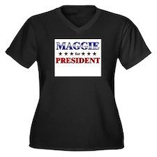 MAGGIE for president Women's Plus Size V-Neck Dark