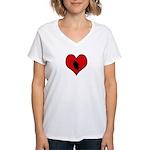 I heart Motocycle Racing Women's V-Neck T-Shirt