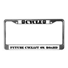 CYCLE-FUTURE CYCLISTS ON BOARD License Plate Frame