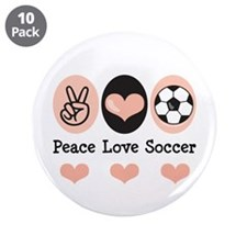 "Peace Love Soccer 3.5"" Button (10 pack)"