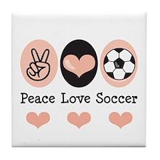 Peace Love Soccer Tile Coaster