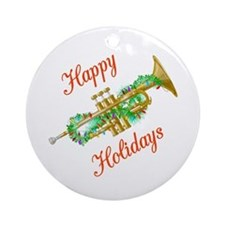Happy Holidays Trumpet Ornament (Round)
