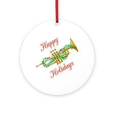 Happy Holidays Trumpet Ornament (Round)