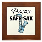 Practice Safe Sax Framed Tile