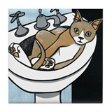 Kitty in the Sink Tile Coaster