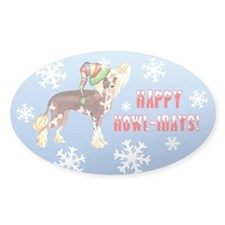 Holiday Chinese Crested Oval Decal