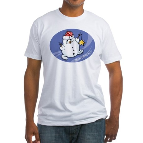 Merry Christmas snowman Fitted T-Shirt
